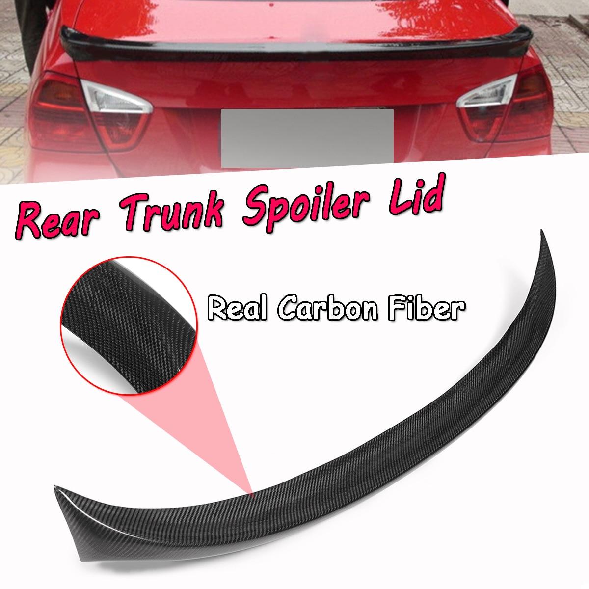For BMW E90 3 Series 4dr Sedan 2006-2011 Real Carbon Fiber Rear Trunk Spoiler Lid Rear Wing Spoiler Rear Trunk Roof Wing 120cm for 12 16 bmw 3 series f30 4dr trunk spoiler oem painted match a83 glacier silver