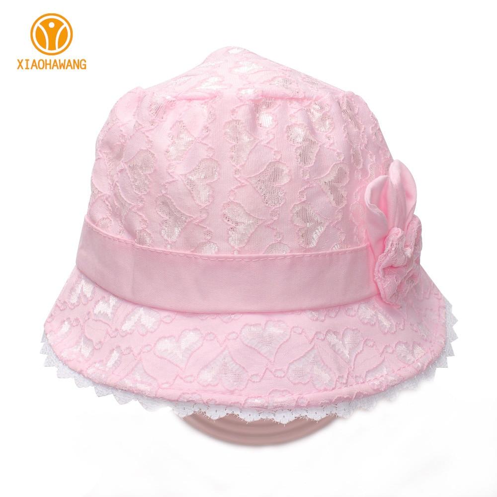 New Baby Girls Hat Solid Snörning Baby Däck Cap Sommar Princess Hat - Babykläder