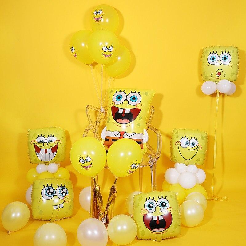 SpongeBob Latex Foil Balloons Sea Yellow Sponge Bob Smile Facial Expression Emoji Balloons For Kid's Birthday Party Decoration