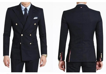 2018 Double Breasted Side Vent Groom Tuxedos Peaked Lapel Men's Wedding Suits C20