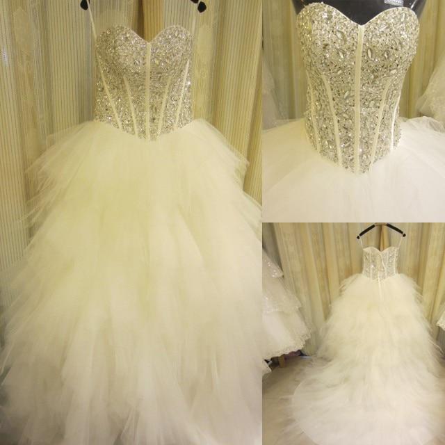 Top Luxury Wedding Dress : Tube top luxury rhinestone diamond train princess wedding dress
