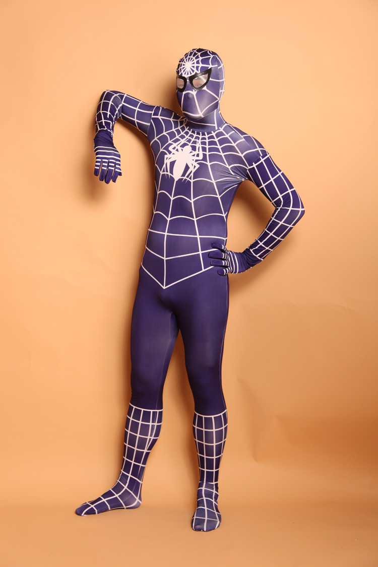 (SN912) Unisex Adult Full Body Dark purple Lycra Spandex Superhero Spiderman Zentai Suits Halloween Party Costume