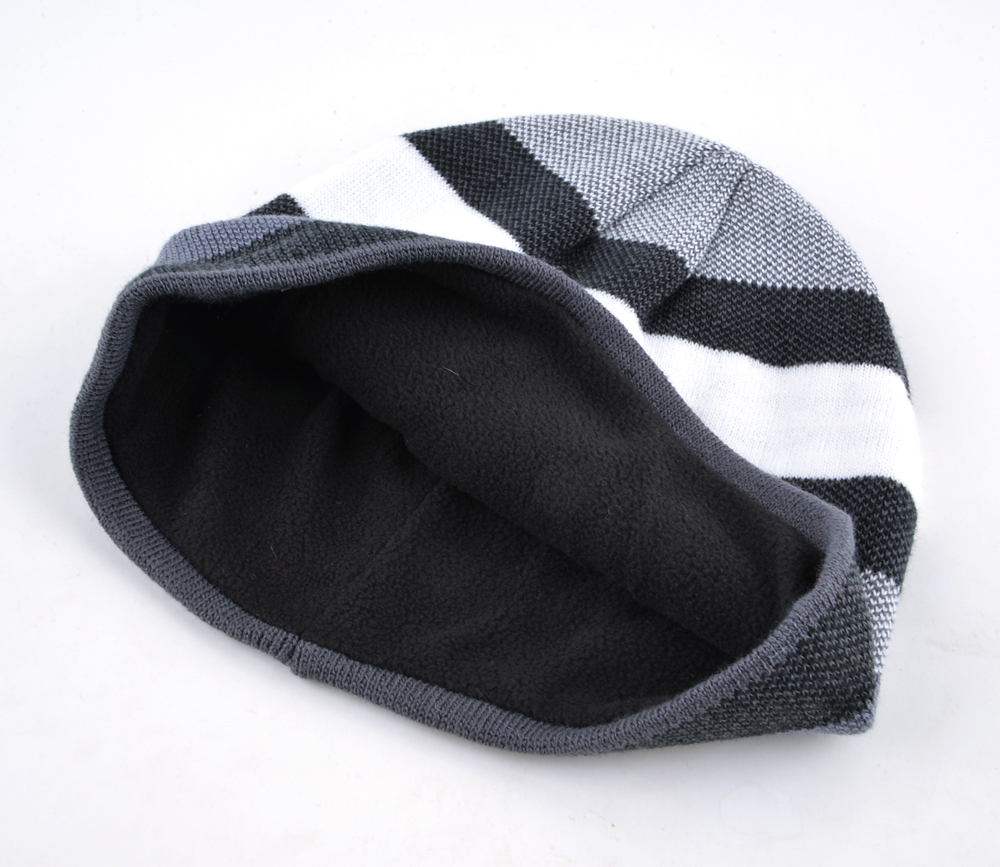 Men's Skullies Hat Bonnet Winter Beanie Knitted Wool Hat Plus Velvet Cap Thicker Stripe Skis Sports Beanies Hats for men 3