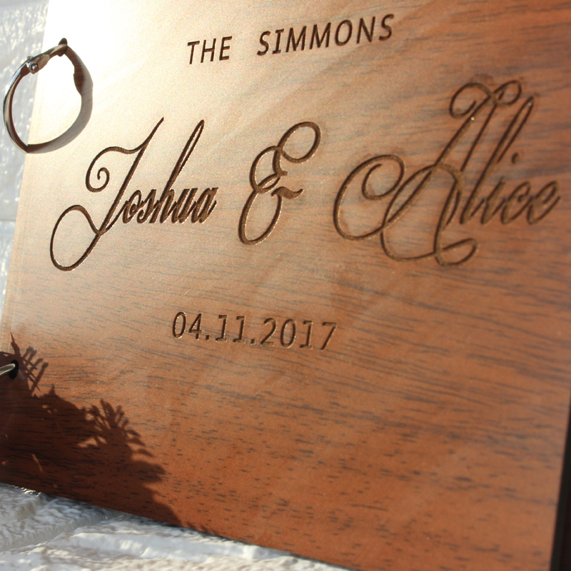 Custom Engraved Wooden Guest Book Wedding Guest Books Alternatives Engagement Anniversary Gift Rustic Personalized Guestbook