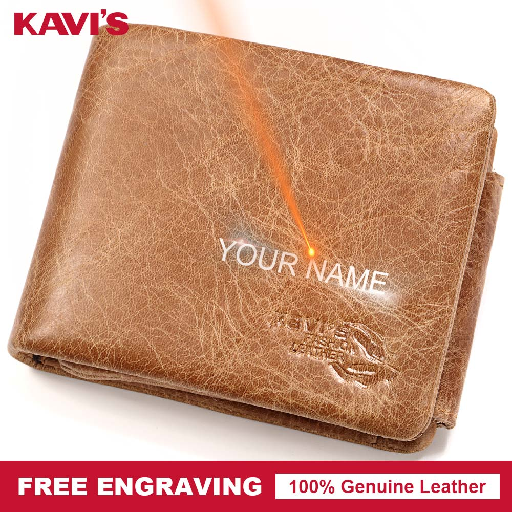 KAVIS New Free Engraving Trifold Genuine Leather Wallet Men Coin Purse Male Cuzdan Portomonee Card Holder Walet Small Pocket and kavis trifold design card holder genuine leather wallet men male coin purse small portomonee portfolio card holder high quality
