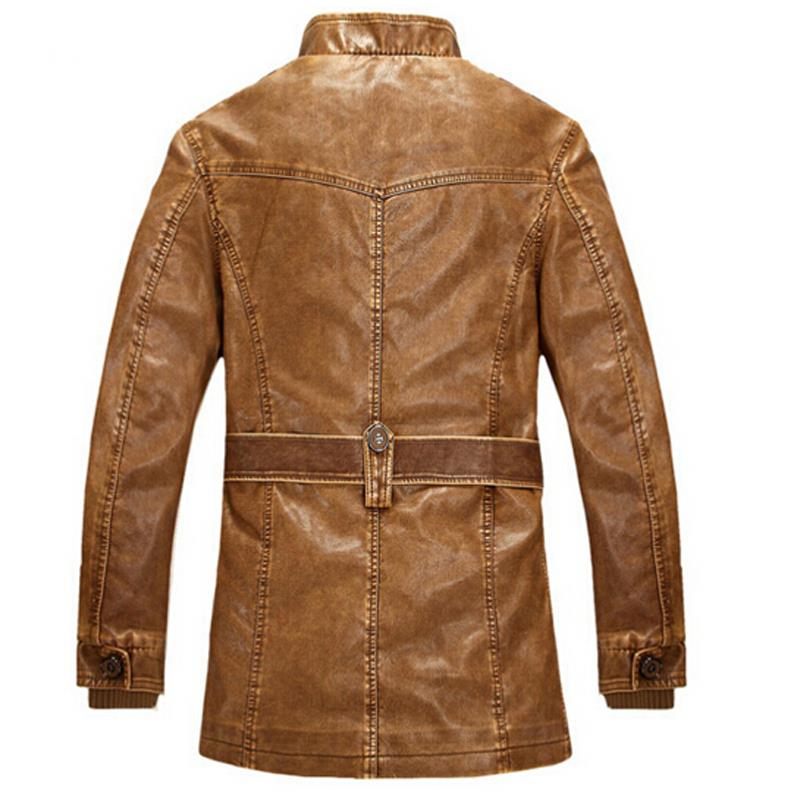 Slim Warm Design Leather Jacket Men With Washed Leather Motorcycle ...
