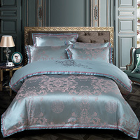 YeeKin 100% Cotton Satin Jacquard Embroidery Bedspreads King Queen Jacquard Satin Purple Hotel Duvet Cover 4pc With Embroidery