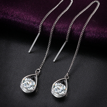 Fashion Crystal Water Drop Earrings for Women Wedding Punk Star Moon Gold Color Long Tassel Dangle Bar Statement Jewelry