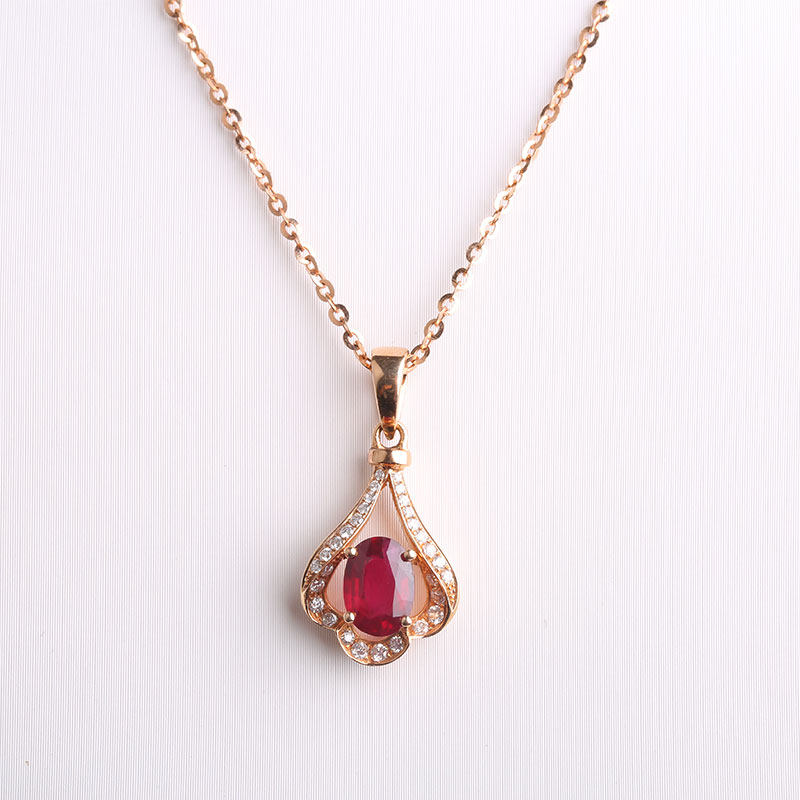 Robira 18K Rose Gold Necklace Vintage Red Ruby jewelry Diamond ...