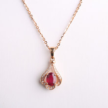 Robira 18K Rose Gold Necklace Vintage Red Ruby jewelry Diamond jewelry fashion Wedding Luxury Pendants for Women