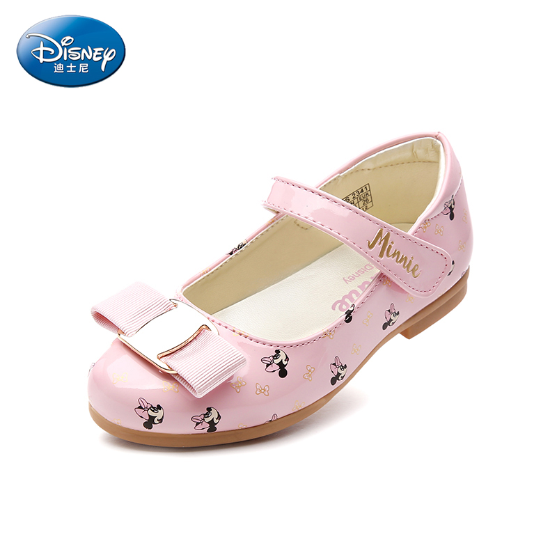 Disney children shoes 2018 spring and summer new fashion Magic sticker girl single shoe princess girl shoes small leather shoes