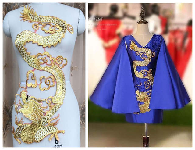 8580799ca6 Chinese element gold dragon embroidered shiny sequins patches for high end  garments and dresses 1 piece