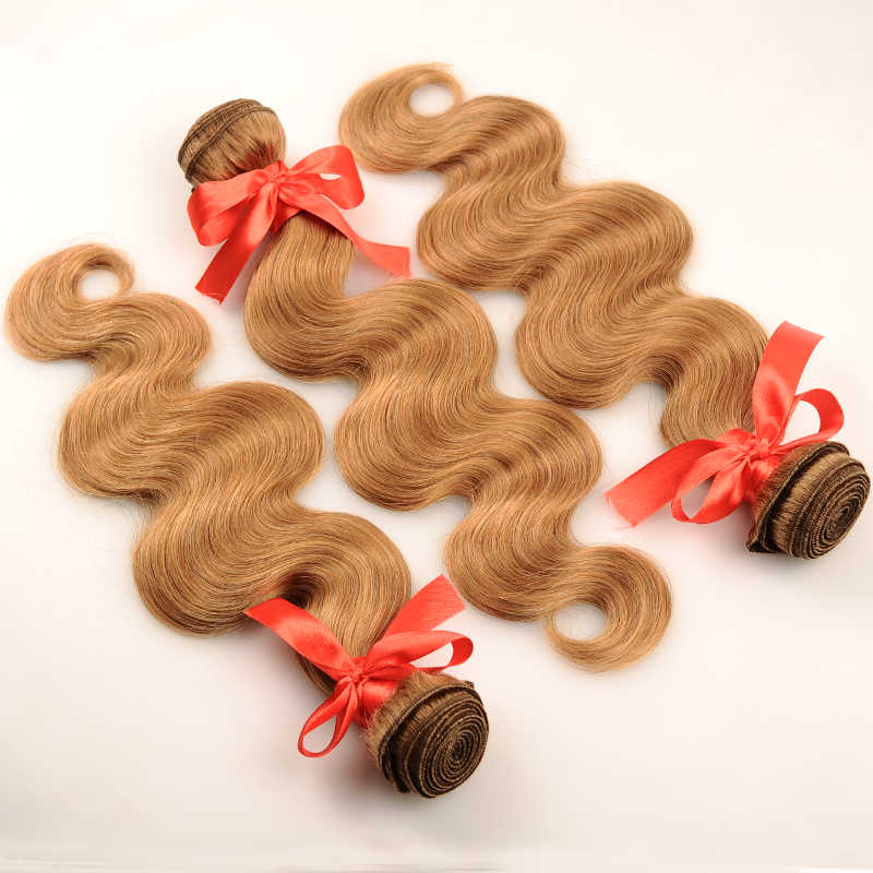 Pinshair перуанские волосы 3 пучка с закрытием медовый блонд #27 цветные человеческие волосы волнистые пучки с закрытием не линяют не Реми