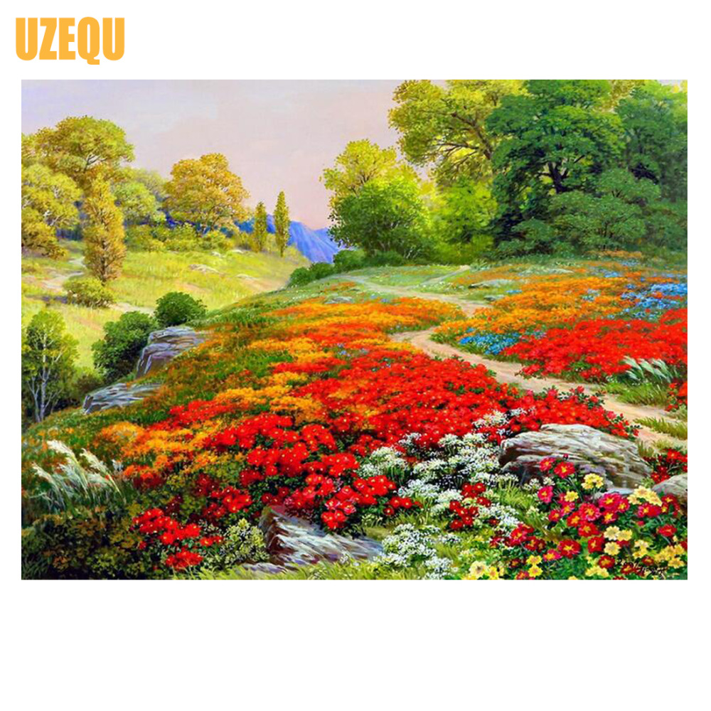UzeQu Full Diamond Ricamo Fiore Sea Scenery 5D Pittura Diamante DIY - Arti, mestieri e cucito