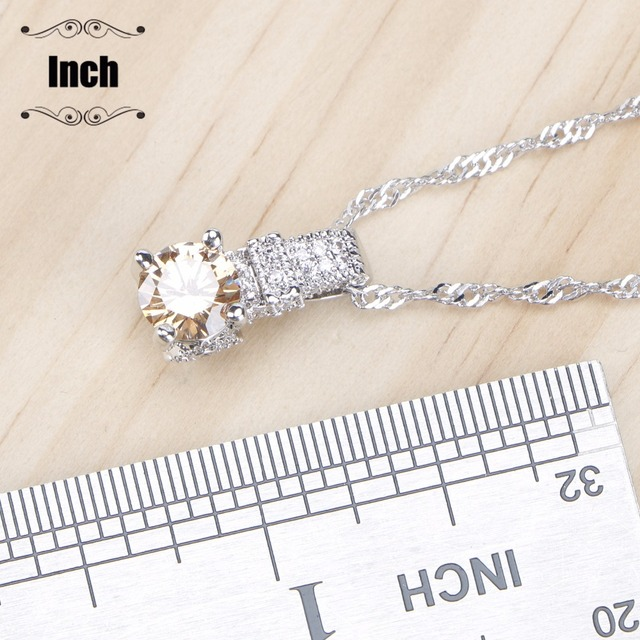 Bridal Zirconia Stone Wedding 925 Sterling Silver Jewelry With Ring Pendant Necklace Set 4