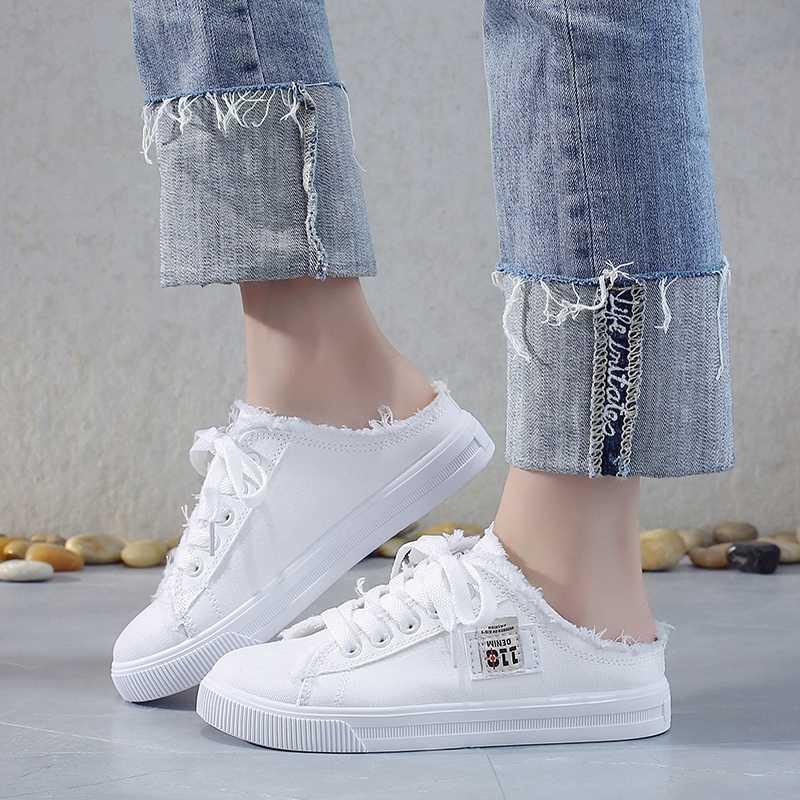 Yeni 2019 İlkbahar Yaz Kadın kanvas ayakkabılar düz ayakkabı kadın rahat ayakkabılar düşük üst dantel up beyaz ayakkabı