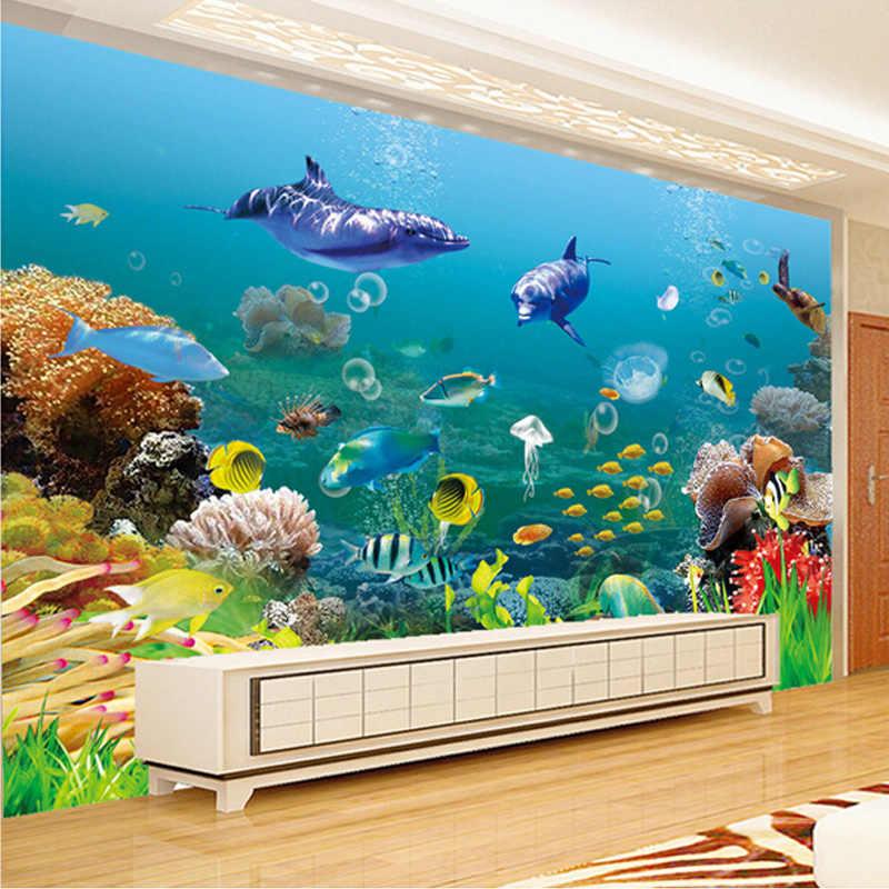 Custom 3D วอลล์เปเปอร์สำหรับผนังห้องนอนใต้น้ำ World Coral Dolphin Fish ภาพจิตรกรรมฝาผนังขนาดใหญ่ห้องนั่งเล่นตกแต่งผ้า