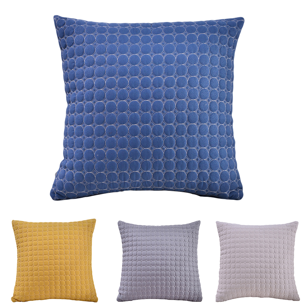 Woven Fabric Home Office Car Sofa Solid Color Dots Decorative Cushion Cover Pillow Cases