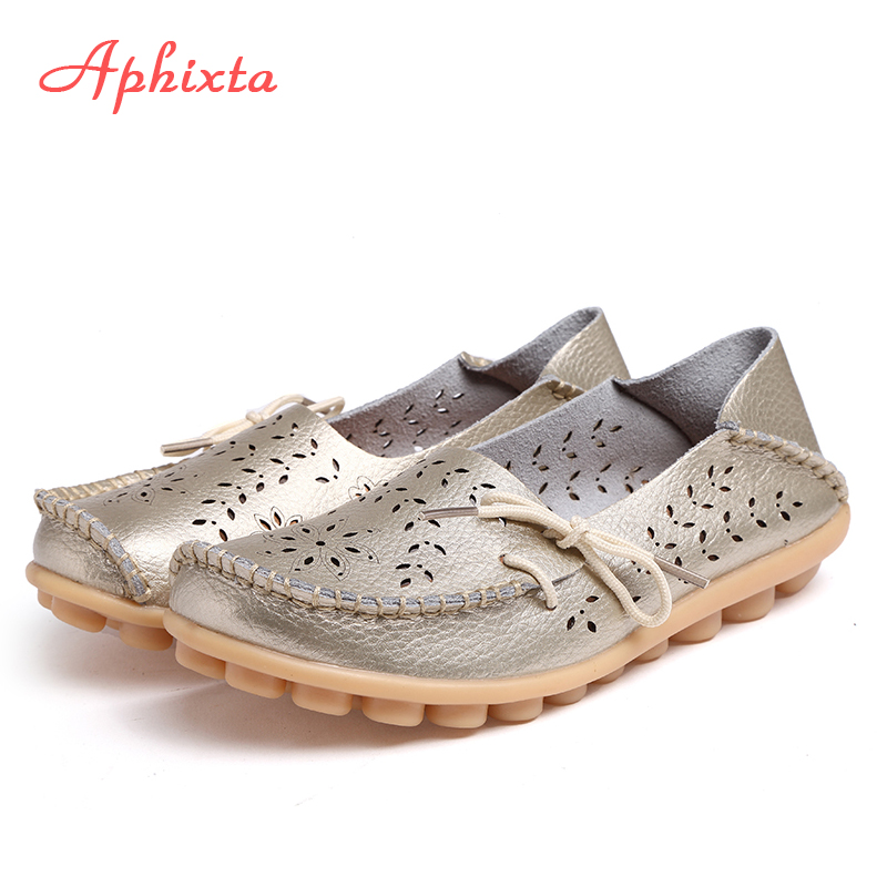 Aphixta Genuine Leather Shoes Woman Loafers Summer Cut-Outs Hollow Flats Moccasins Breath Mesh Ladies Mother Footwear Flat Shoe