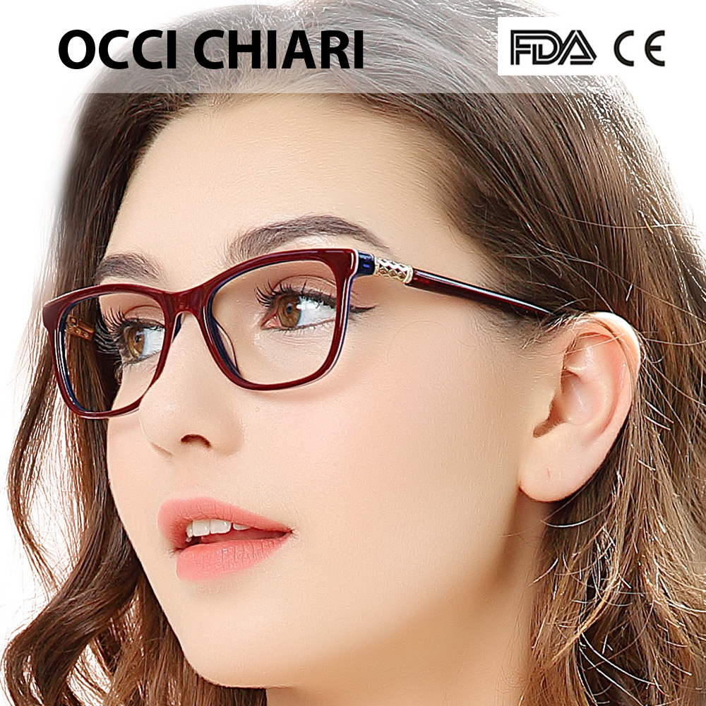 OCCI CHIARI Vintage Myopia Glasses Frames Women Anti Blue Ray Computer Eyewear Diamond Spring Hinge Optical Spectacles Frame