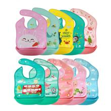 Купить с кэшбэком Bibs & Burp Cloths Cartoon Animals Baby Bibs EVA Plastic Waterproof Baby Bib Bebe Kid Infant Apron Towels Baby Stuff Accessories