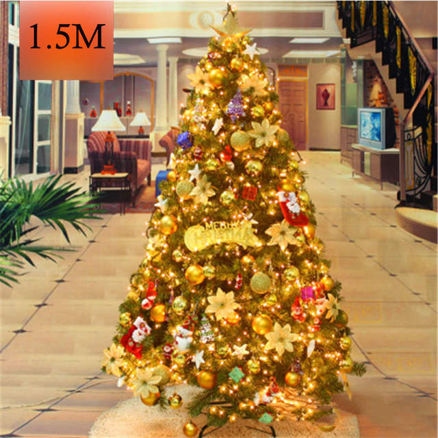1 5m Christmas Tree With Many Tree Decorations Glowing Gold Luxury Christmas Tree Home Market Bar Party Wedding Decoration Mfd42
