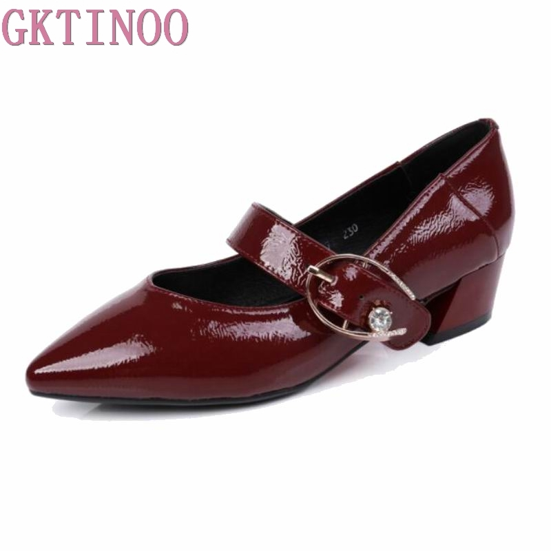 GKTINOO Pointed Toe Genuine Leather Shoes 2018 Women Mary Jane Shoes Pumps Shallow High Heels Buckle Strap Party Shoes цена