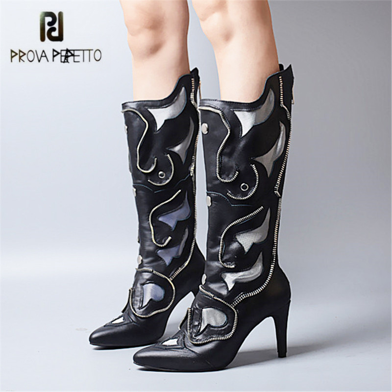 Prova Perfetto New Design Pointed Toe Women Knee High Boots Genuine Leather Back Zipper High Heel Boots Embroidery Long Boot new arrival superstar genuine leather chelsea boots women round toe solid thick heel runway model nude zipper mid calf boots l63
