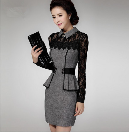 2017 New Winter Autumn Embroidery Office Dress For Women Vintage Lace Plus Size Work Wear Lady
