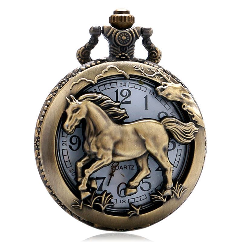 At Desen Pocket saat At Tasarım Noel Hediye Antik Pocket saat Kolye - Cep Saatleri - Fotoğraf 1