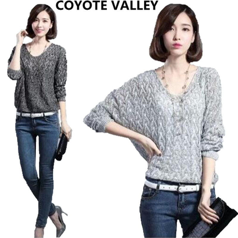 COYOTE VALLEY 2017 Elegant halter knitted sweater Autumn winter white short pullover women tops Slim v neck casual pull femme