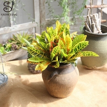 Rare Artificial Tropical Plants Colored Leaves Home Garden Decor High Quality Plastic Fake Green Wedding Table Decoration