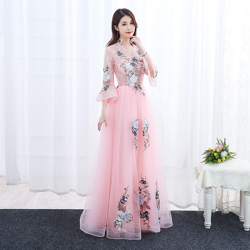 Elegant Embroidery   Evening     Dresses   2019 graduation Long prom   Dress   Vestido da festa fashionable formal party   dress