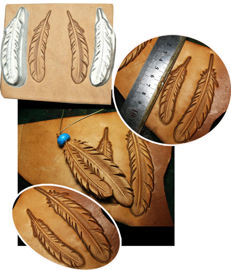 Feather Pattern Hand-work Unique Design Leather Working Tools Carving Punches Stamp Craft Leather With Leather Carving Tools