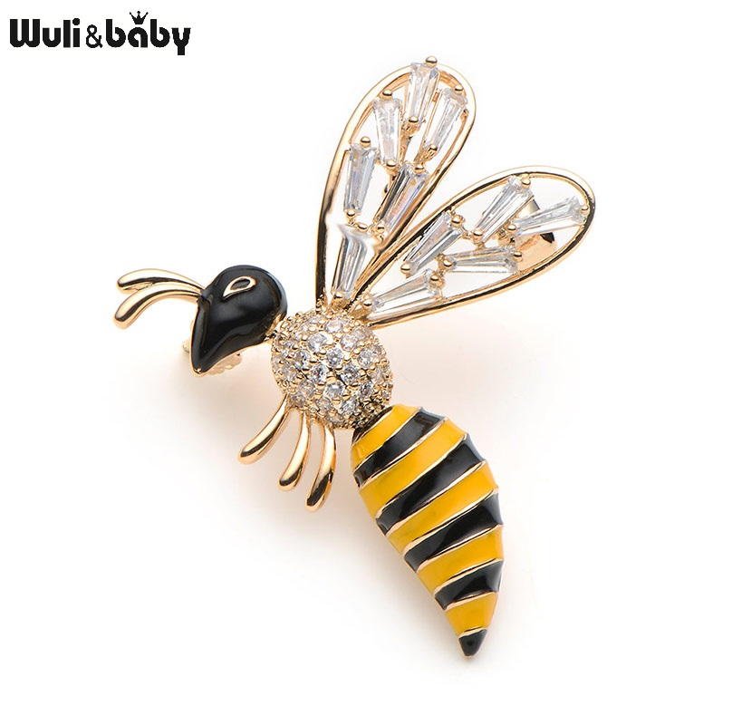 Wuli & baby Crystal Yellow Bee prossid naistele ja meestele Fashion Top Quality Insect prossid Pins Pulmad Broche Gift Scarf Pins