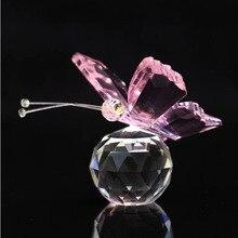 6 цветов хрустальные животные бабочка ремесла стекло пресс папье натуральные камни Статуэтка для декора украшения дома свадебные сувениры подарки