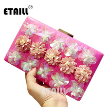 цена на ETAILL 2017 Hot Hand Evening Bags New the Chain Shoulder Bags Appliques Pattern Flowers Wedding Dinner Bags Day Clutches Bags