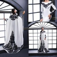 White Evening Dresses With Satin Black Lace Applique And Cape Long Sleeves Jewel Neck Formal Long Prom Dresses Party Gown