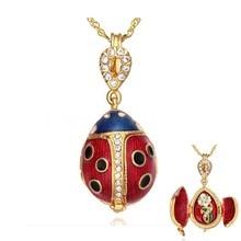 Envío gratis Beatles tres Europeos Faberge huevo estilo colgante collar cristalino de la manera para los regalos de Navidad