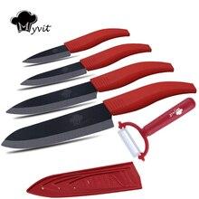 """Myvit marke keramik küchenmesser set messer sets 3 """"schäl 4"""" utility 5 """"schneiden 6"""" kochmesser schwarz blatt-keramisches messer"""