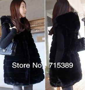 2013 white faux fur vest coat outerwear women's coats black hat hood - EmmaFashion FUnShop store