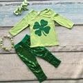 Новорожденных девочек Сент-Патрикс костюмы девушки Shamrock топ зеленый блестки брюки бутик наборы с длинным рукавом одежды с аксессуарами