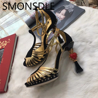 SMONSDLE Gold Silver Genuine Leather Crystal Heart Designed High Heels Sandals Women Open Toe Buckle Women Shoes Wedding Party