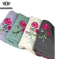 Luxury Long Embroidered Scarf Women Cotton Viscose Shawl Wrap Rose Flower Solid Plain Embroidery Scarf Rayon