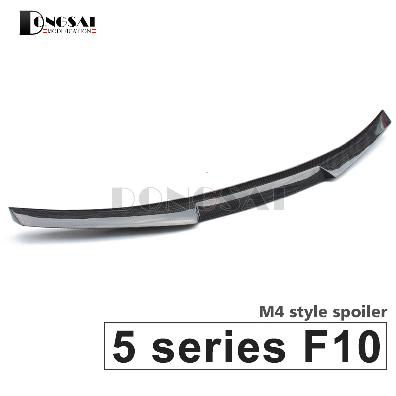 цены F10 carbon fiber M4 style spoiler rear trunk lip wings for BMW 5 series f10 M5 2010 - 2017 520i 523i 525i 528i 535i