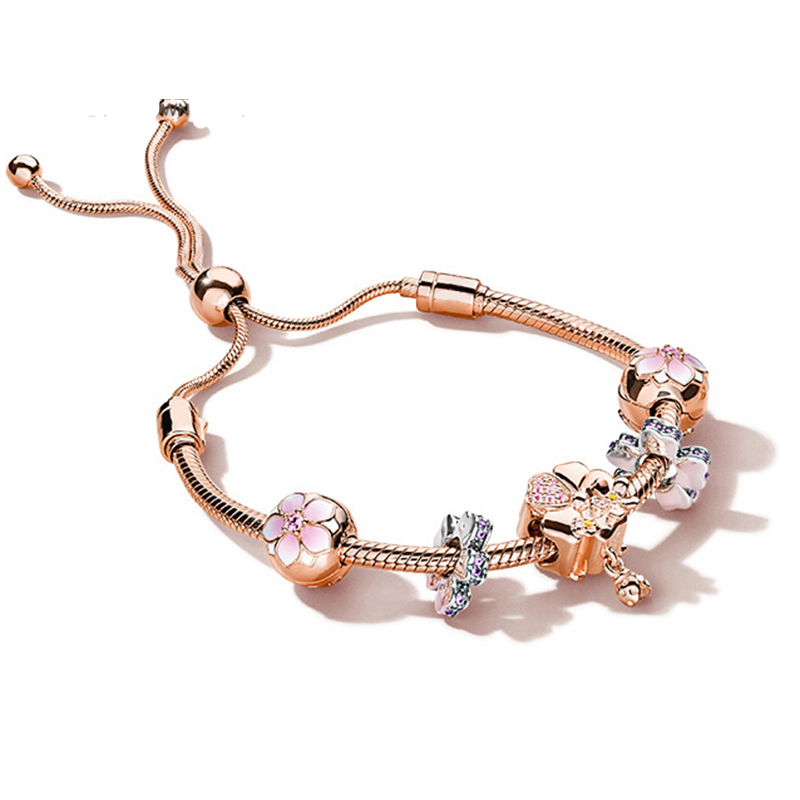 NEW 100% 925 Sterling Silver Brand New Bracelet Set Magnolia Flower and Ever Blooming Charm Rose Gold Bracelet Set ElegantNEW 100% 925 Sterling Silver Brand New Bracelet Set Magnolia Flower and Ever Blooming Charm Rose Gold Bracelet Set Elegant