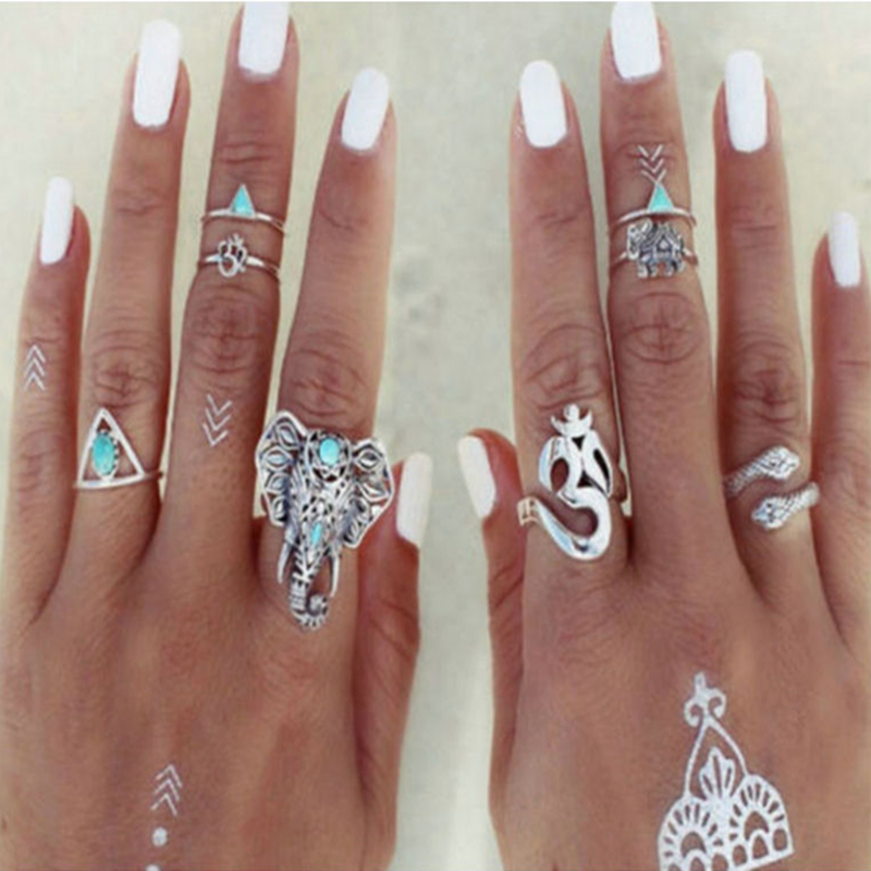 ZheJiang YanKun 8PCS/Set Fashion Vintage Bohemian Turkish Midi Ring Set  Stacking Punk Ring Elephant Snake Knuckle Rings Women Anel Charm Anelli