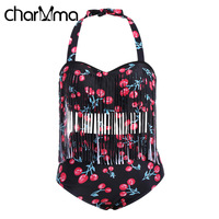 CHARMMA Bikini Plus Size Sexy Large Size Halter Neck Cherry Print Bikini Suits Tassels High Waist