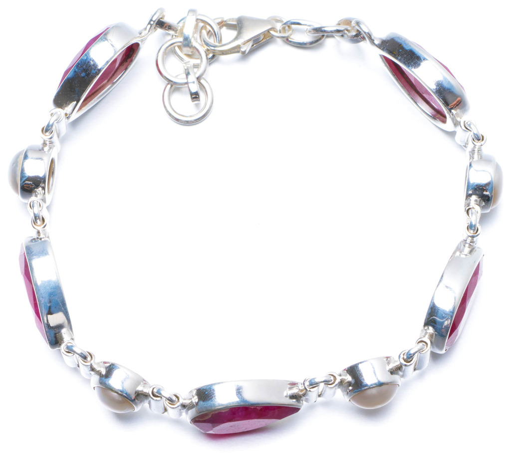 Natural Cherry Ruby and River Pearl Handmade Unique 925 Sterling Silver Bracelet 7 1/4-7 3/4 Y0099 цена