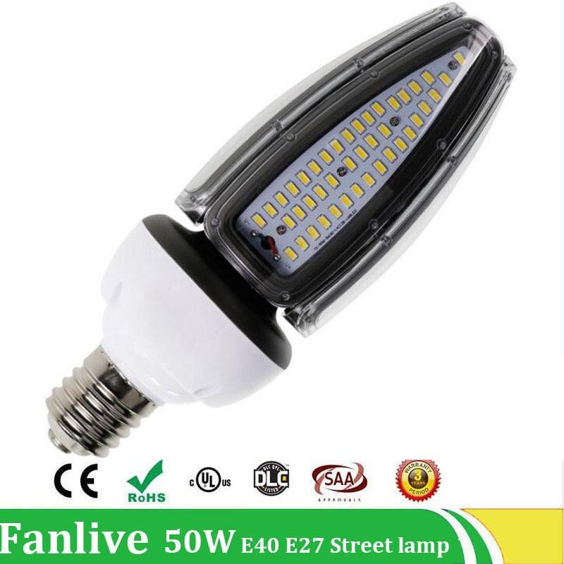 3PCS/LOT 30W 40W 50W Street Lamp E40 E27 road lamp base led corn Waterproof IP65 AC100V-277V Outdoor Lighting Industrial Light